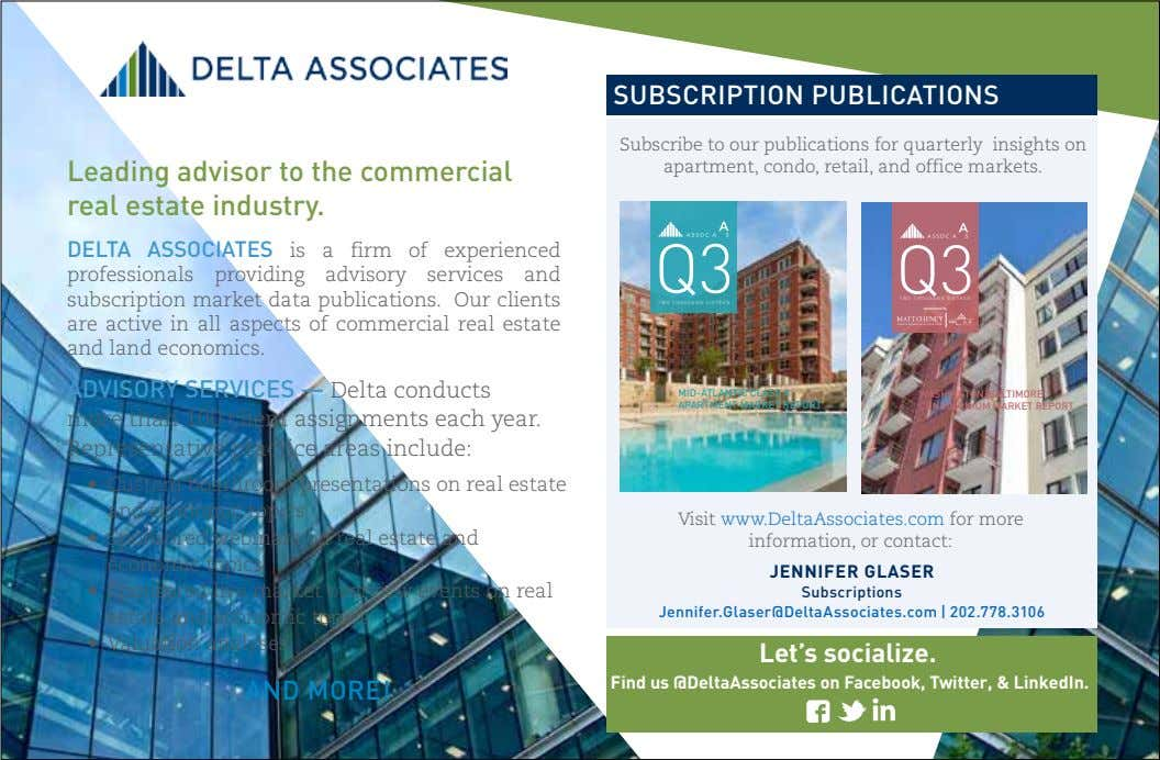 SUBSCRIPTION PUBLICATIONS Leading advisor to the commercial real estate industry. Subscribe to our publications for quarterly