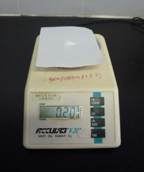 7) 0.2g of eggshell powder is weighted accurately by using an electronic balance and it was