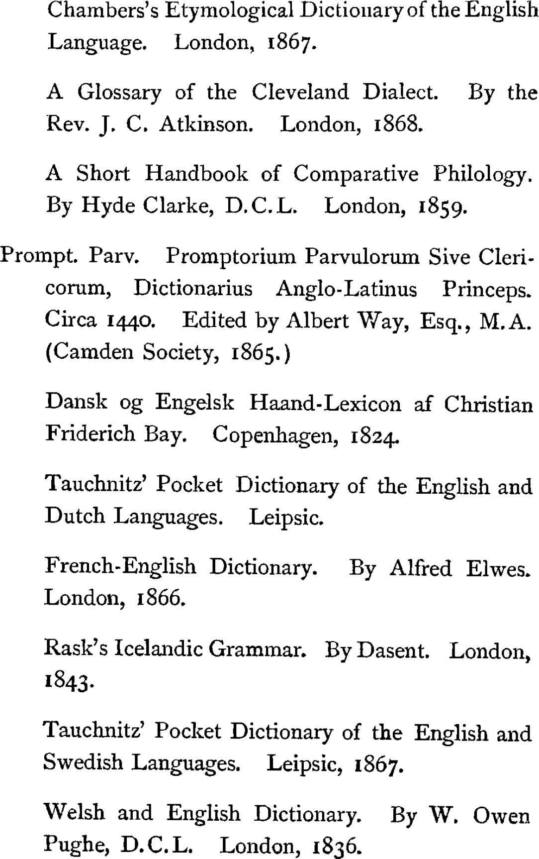 Chambers's Etymological Dictionary of the English Language. London, 1867. A Glossary of the Cleveland