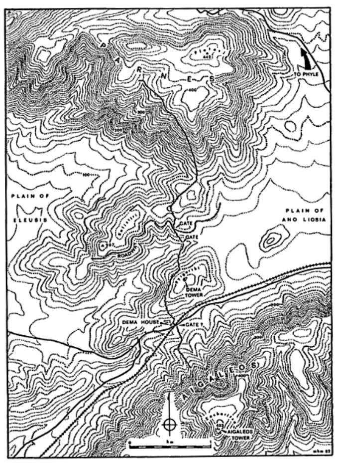 [ Full Size ] Map 2. The Dema wall in the Aigaleos-Parnes gap ― 40