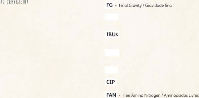 FG - Final Gravity / Gravidade final IBUs CIP FAN - Free Amino Nitrogen /
