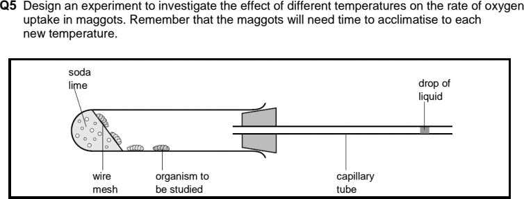 Q5 Design an experiment to investigate the effect of different temperatures on the rate of oxygen
