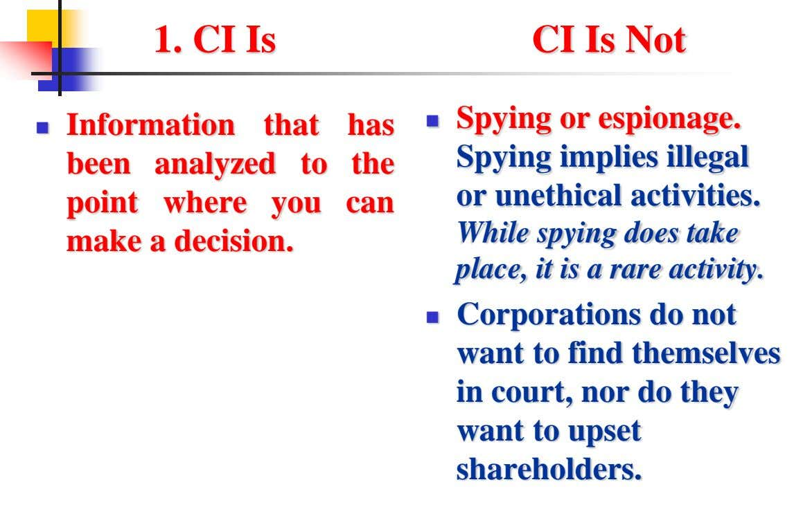 1. CI Is CI Is Not Spying or espionage.  Information that has  been analyzed