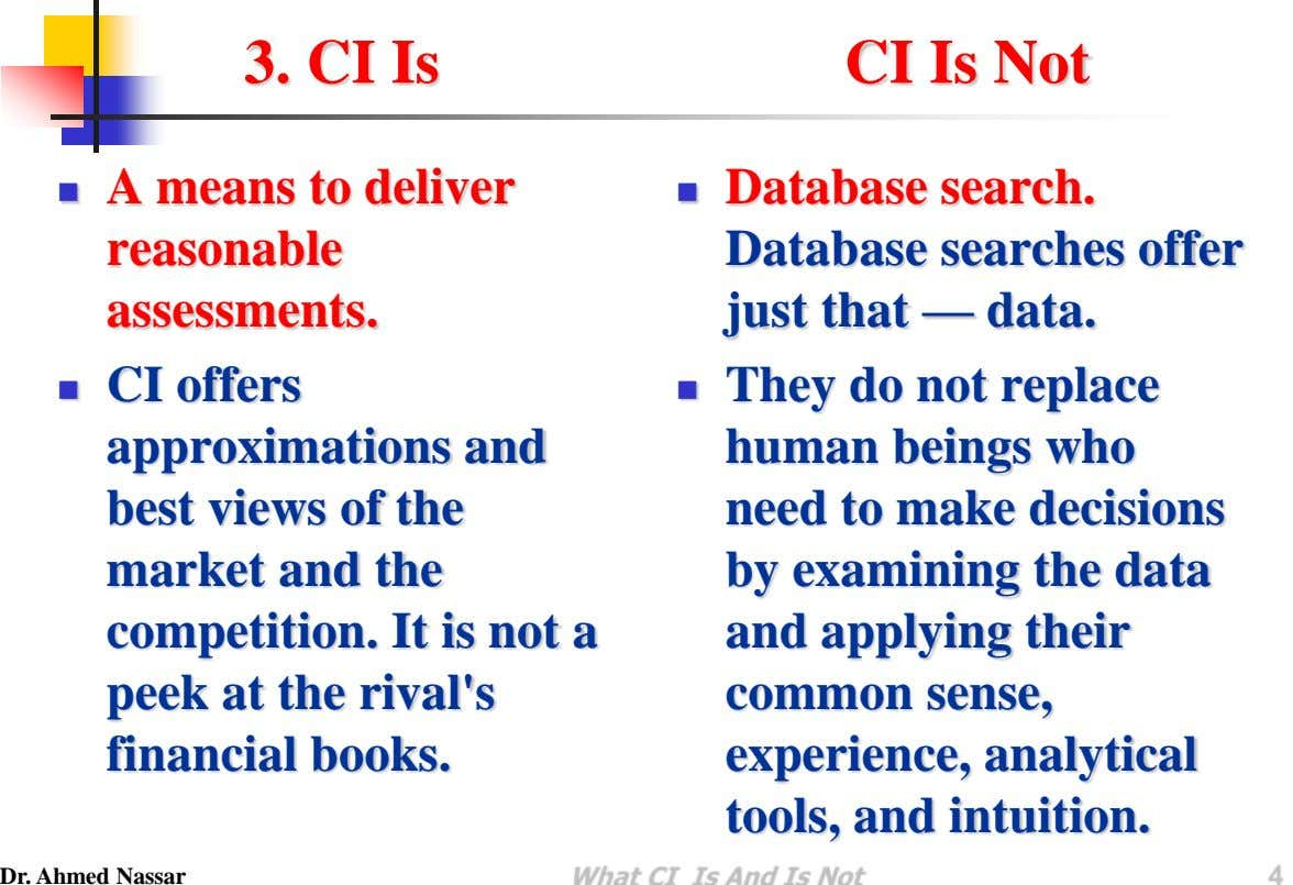 3. CI Is CI Is Not A means to deliver   reasonable assessments. Database search.