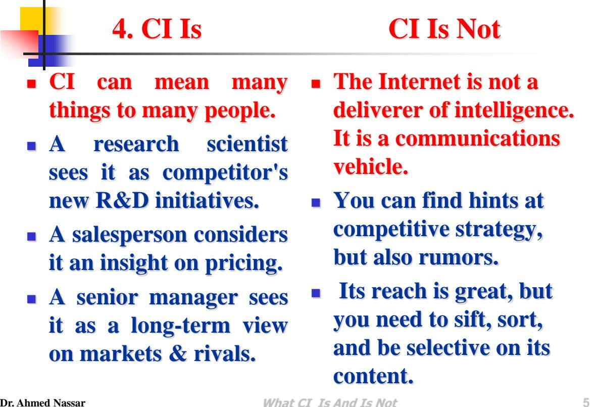 4. CI Is CI Is Not CI can mean  many things to many people. 