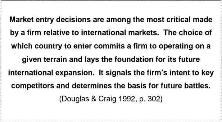 Market entry decisions are among the most critical made by a firm relative to international