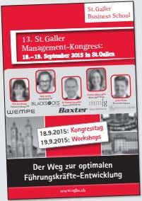 St.Galler Business School 13. St.Galler Management-Kongress: 18. – 19. September 2015 in St. Gallen Samy