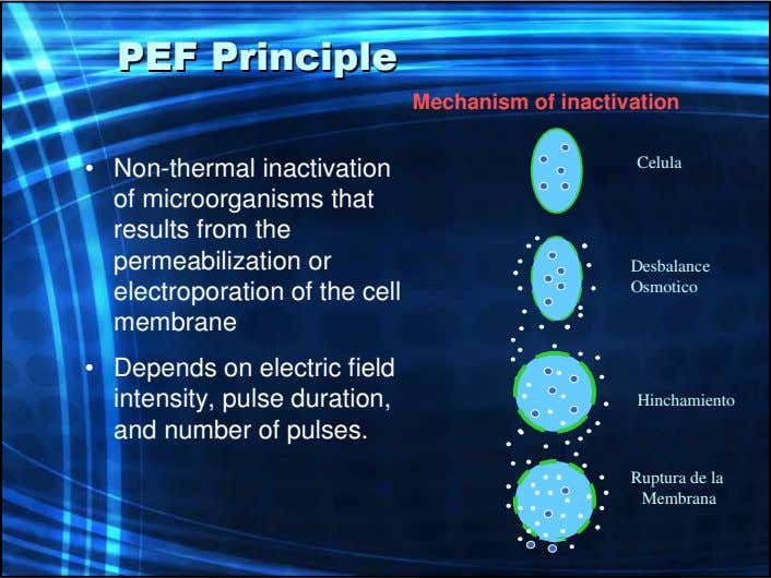 PEFPEF PrinciplePrinciple Mechanism of inactivation • Non-thermal inactivation of microorganisms that results from