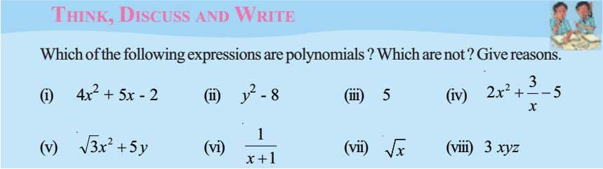 THINK, DISCUSS AND WRITE Which of the following expressions are polynomials ? Which are not