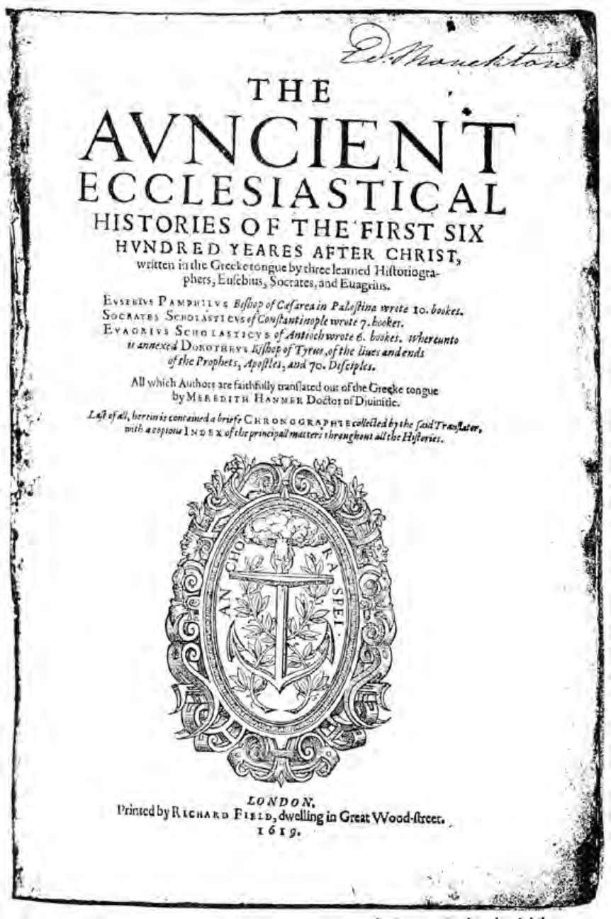 Alexandria, the Cradle of Western Mysticism Title page from an English translation of the ecclesiastical history