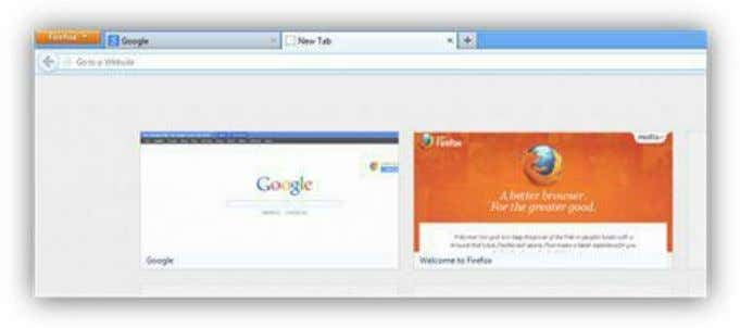 Figure 122: New Tab Button and Grid The Firefox button in the upper-left corner provides