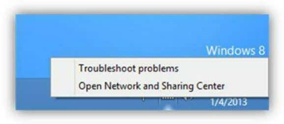 the Network and Sharing Center link from the Control Panel. Figure 131: Network Context Menu In