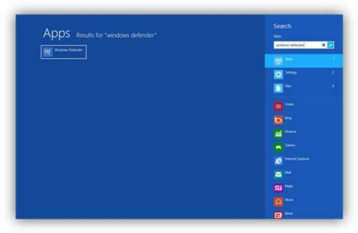Start Screen, and click on the app in the search results. Figure 159: Windows Defender App