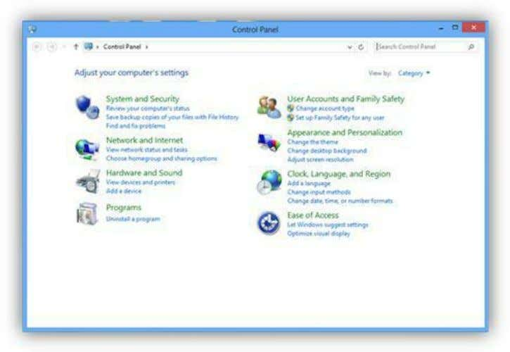 the control panel and click on the Uninstall a Program link. Figure 185: Control Panel Windows