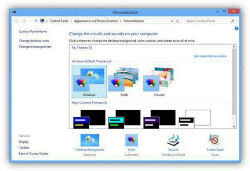 change just the wallpaper, color, sounds, or screen saver. Figure 199: Personalization Menu The desktop wallpaper
