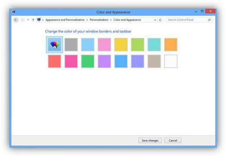 From this window you can choose the color you prefer. Figure 201: Color and Appearance Selection