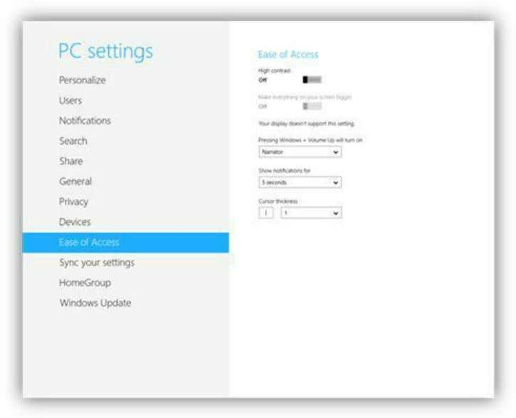 Figure 213: Ease of Access Settings When using a Microsoft Account you can sync settings