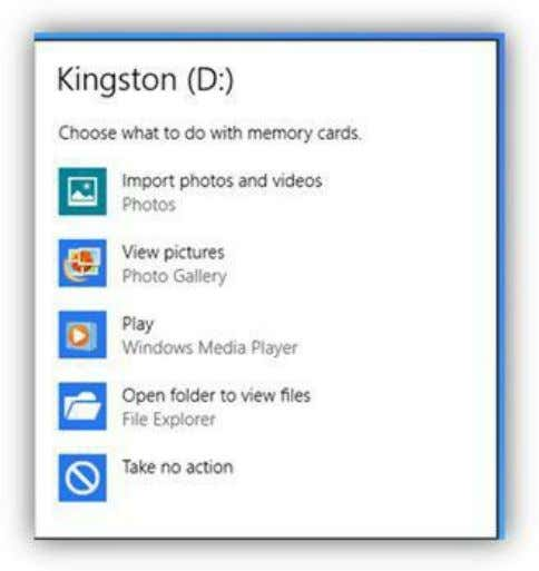 to import selected photos to your PC quickly and easily. Figure 218: Memory Card AutoPlay Options