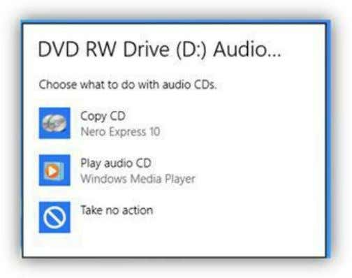 Media Player on the Start Screen and open the program. Figure 221: Audio CD AutoPlay Prompt