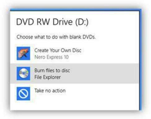 data files to the blank DVD. continue. Select that option to Figure 233: Blank DVD AutoPlay