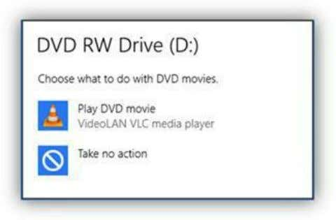 the AutoPlay options when a DVD movie is inserted in the PC. Figure 235: DVD Movie