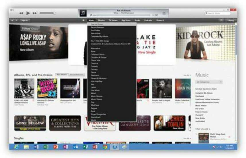 dropdown next to each category to select a genre to browse. Figure 246: iTunes Store To