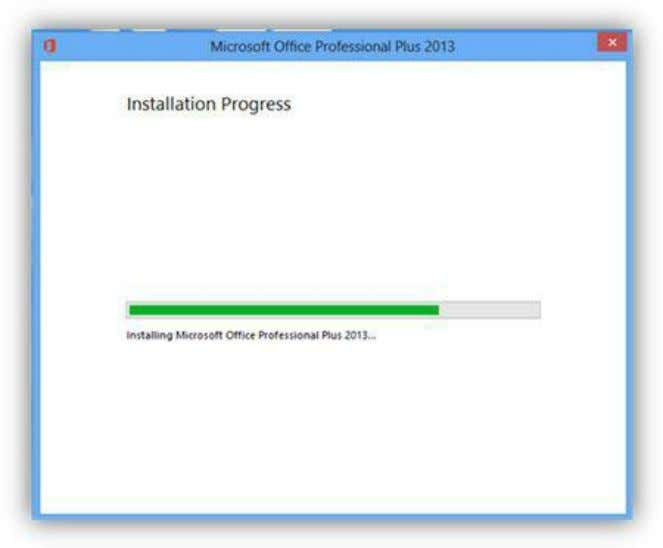 during the installation. The progress bar will advance Figure 251: Installation Progress When the installation is