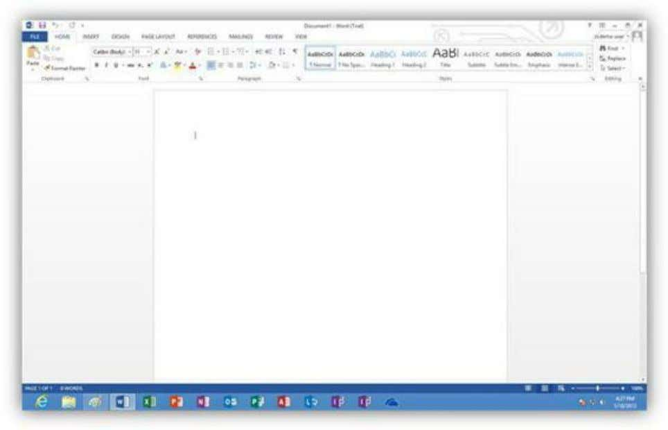 follow we will break down some of the features in each tab. Figure 258: Blank Document