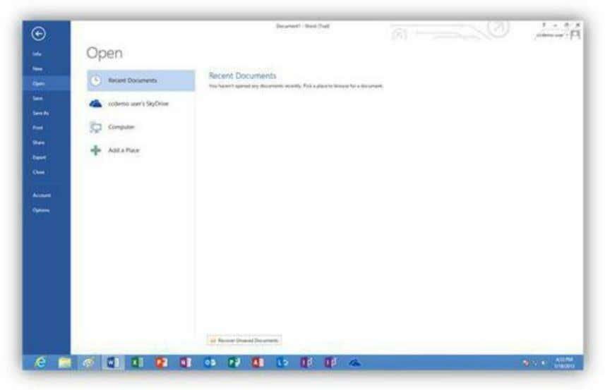screen you can open a recent file, a file stored in your SkyDrive account, or a