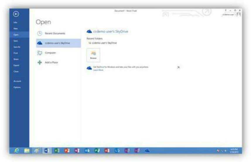 files not stored in the current user's SkyDrive folder. Figure 273: Open SkyDrive Documents The Computer
