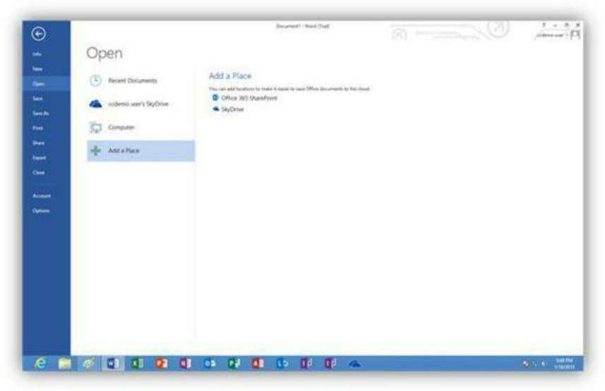 SharePoint folder to streamline saving files to the cloud. Figure 275: Add a Place The Save