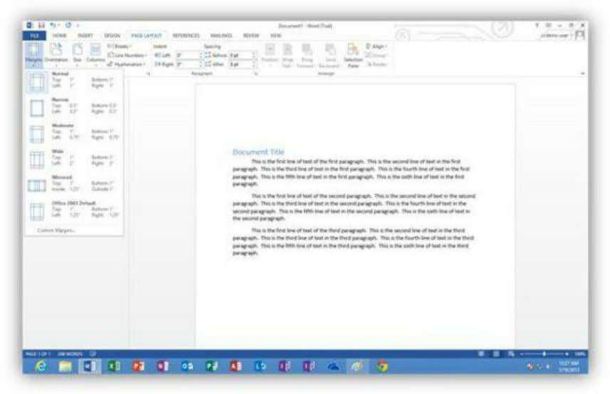 Figure 287: Set Page Margins To check spelling and grammar in the document, click the