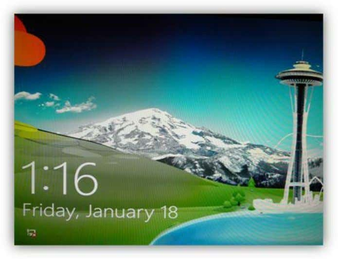 idle for a set period of time. customizable information. Figure 15: Windows 8 Lock Screen To