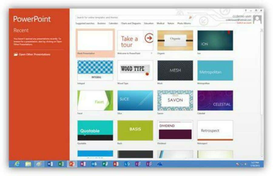 we will select the blank presentation option to get started. Figure 323: Select a PowerPoint Template