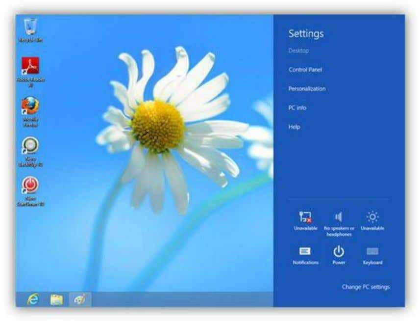 Figure 36: Settings Charm To shut down your PC, click the Settings charm, then the