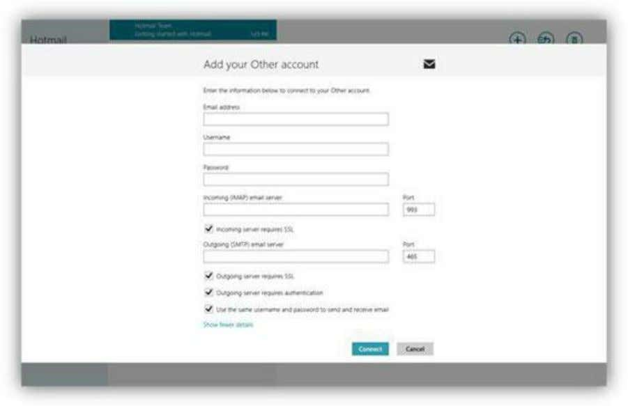 Figure 70: Manual Server Settings To configure account settings for an e-mail account already set