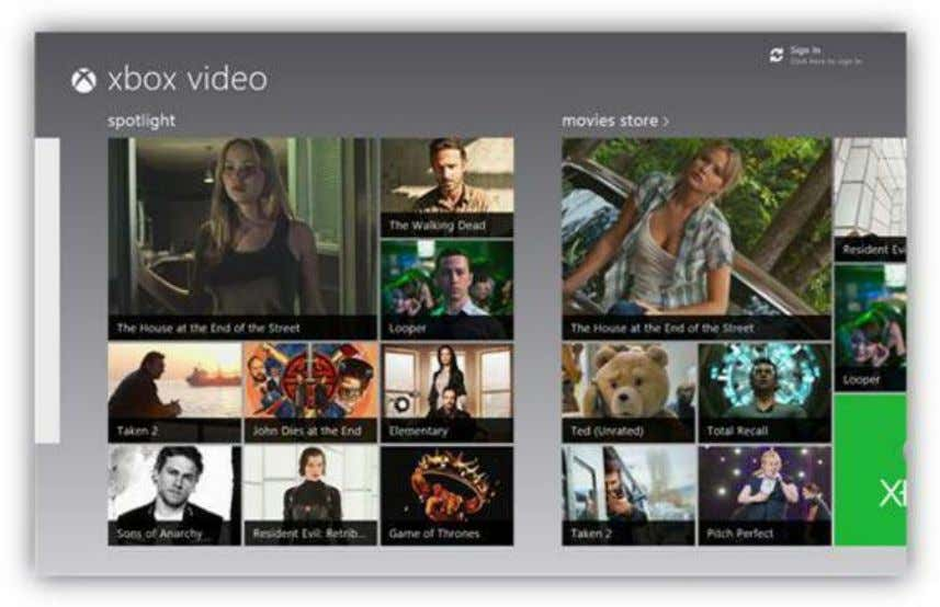 playback options, such as pause, skip ahead, and rewind. Figure 89: Xbox Video App Videos you