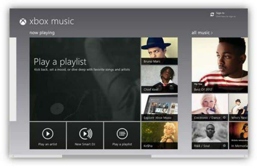 purchased or streamed are on the right side of the screen. Figure 93: Xbox Music App