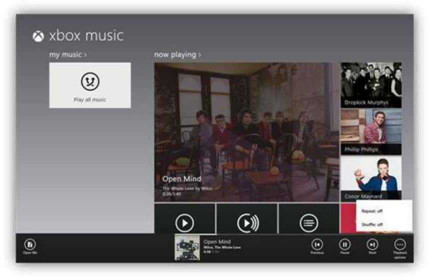 Figure 94: Xbox Music App Commands Clicking on the Now Playing window will display information