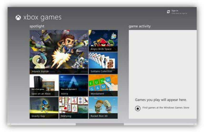 Xbox Games for Windows 8 and earn game achievement points. Figure 96: Xbox Games App Initial