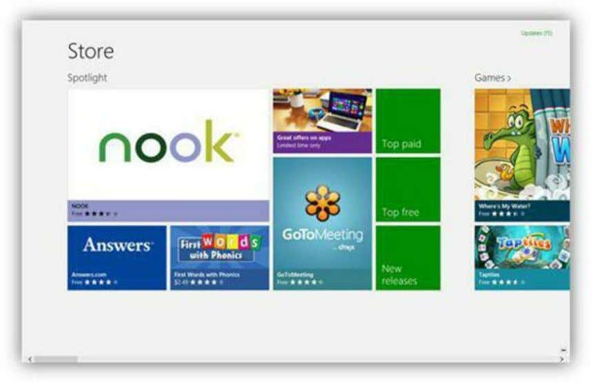 Windows Store Figure 106: Windows Store The Windows Store is an online marketplace for finding apps