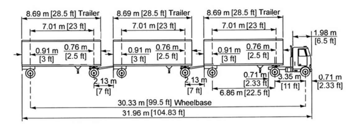 Triple-Trailer: WB-30T (WB-100T) • Consists of three 8.7 m (28.5 ft) trailers – One semitrailer and