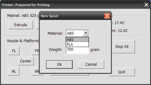 whether the material you are printing with is ABS or PLA. TIP: An empty spool weighs