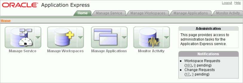 Services. The Home page appears for Administration Services. 2. Click Manage Workspaces . 3. Under Manage
