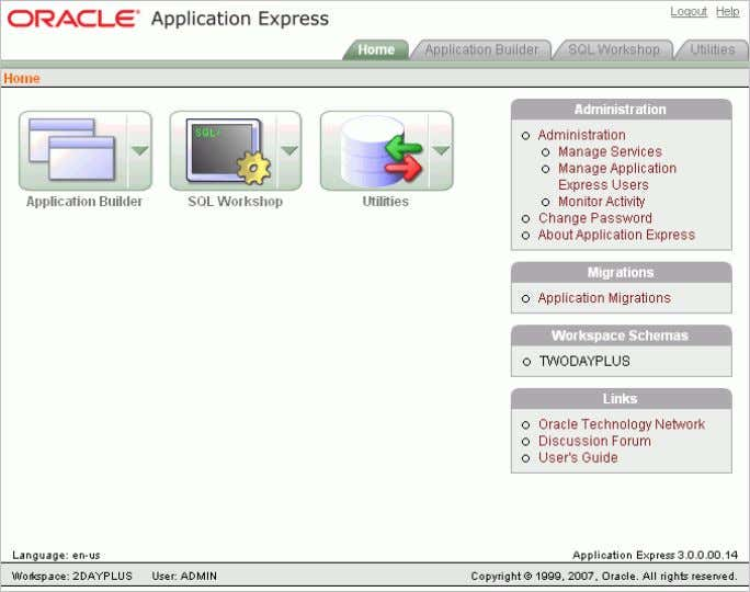 in to Oracle Application Express, the Workspace home page appears. Getting Started with Oracle Application Express