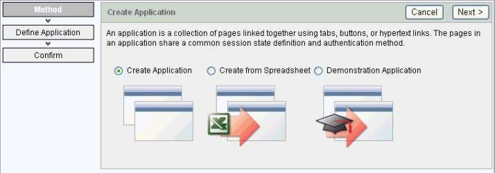 Creating the Initial Application Note that each page within a wizard displa ys the title of