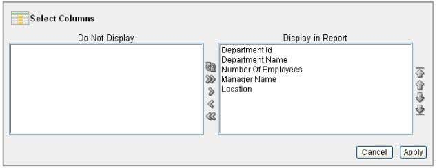 of the Display in Report to put the columns in this order: 4-10 Oracle Database 2