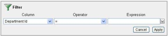 Using an Interactive Report 3. From the Operator drop down, select the not equals operator: !=