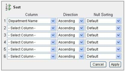 3 . Select Department Name for the first column entry. 4. Click Apply . The report