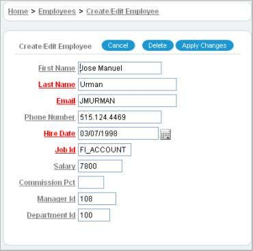 in an Employee row. The Create/Edit Employee form appears. Note the following about the Create/Edit Employee